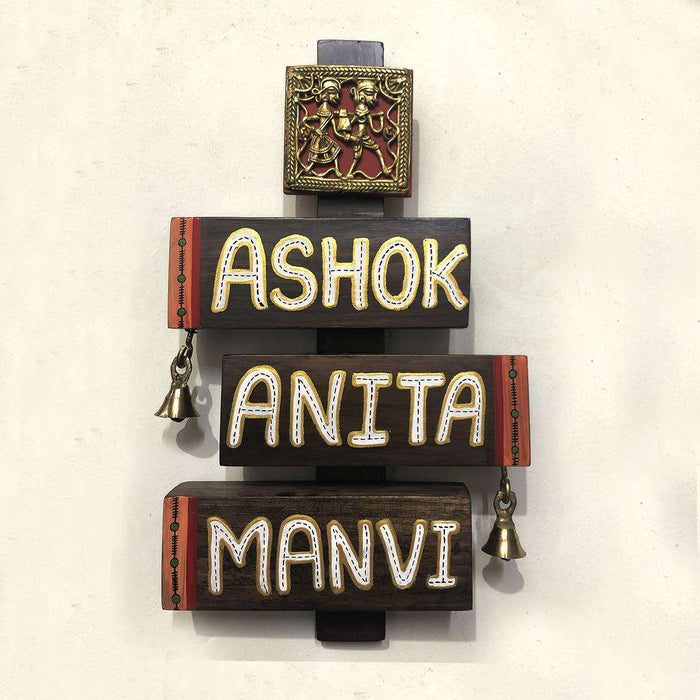 Warli & Dhokra Customized Wooden Name Plate - artystagallery