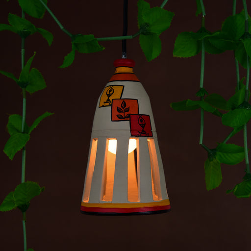 Handcrafted Bottle Shaped Terracotta Hand Painted Pendant Cum Hanging Lamp In Beige Color