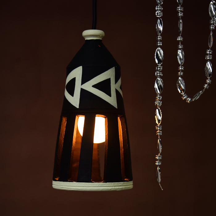 Handcrafted Bottle Shaped Terracotta Hanging Cum Pendant Lamp in Black Color