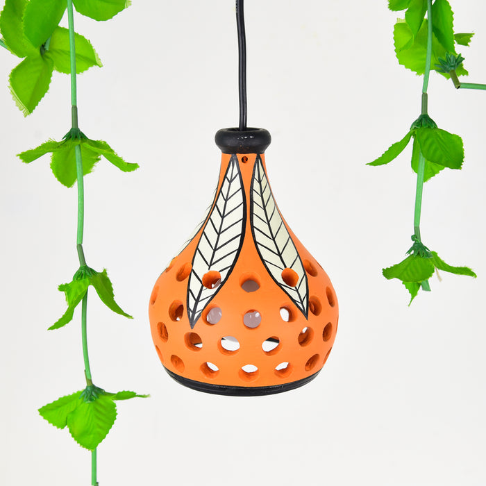 """Ethnic Lantern"" Terracotta Handcrafted Hanging Cum Pendant Lamp In Blue Color"