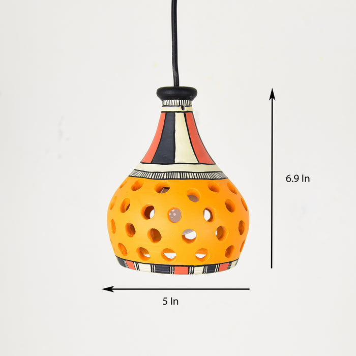 Dome Shaped Hand Crafted Terracotta Pendant Cum Hanging Lamp, Hand Painted Decorative Hanging Light in Mustard Yellow Color