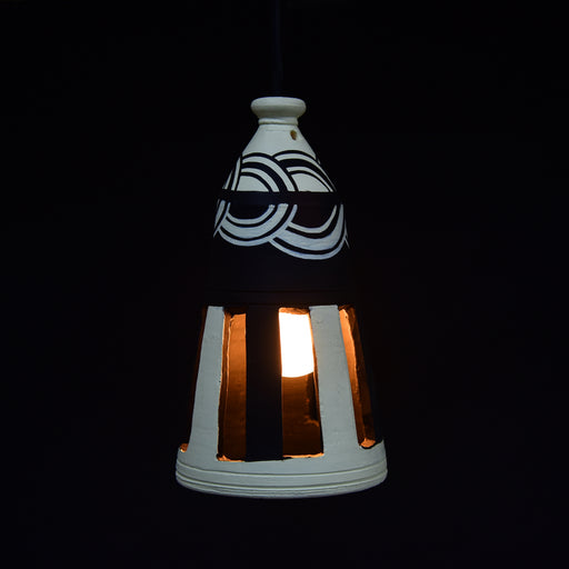 Handcrafted Bottle Shaped Terracotta Pendant Cum Hanging Lamp, Traditional Decorative Lamp In Black & White Color