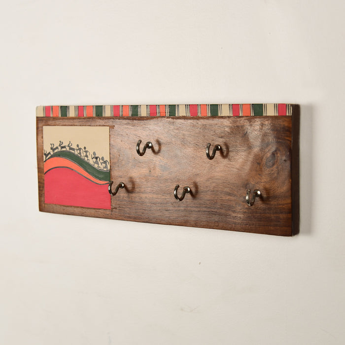 Handcrafted 'Warli' Wooden Key Holder