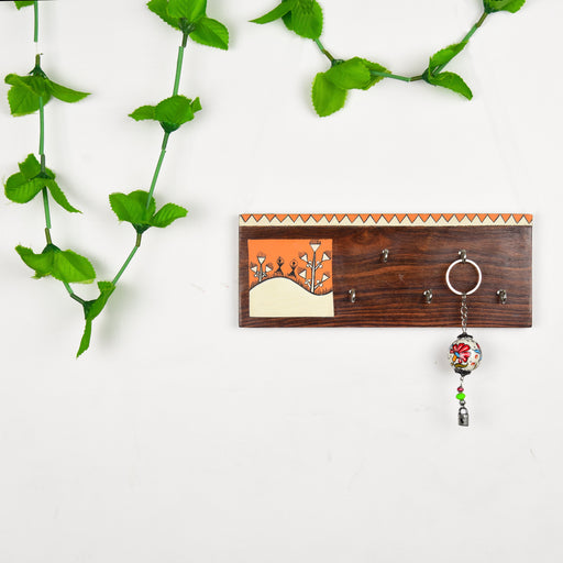 Handcrafted Wooden Decorative Key Holder | Wall Mounted Key Chain Hanger for Décor