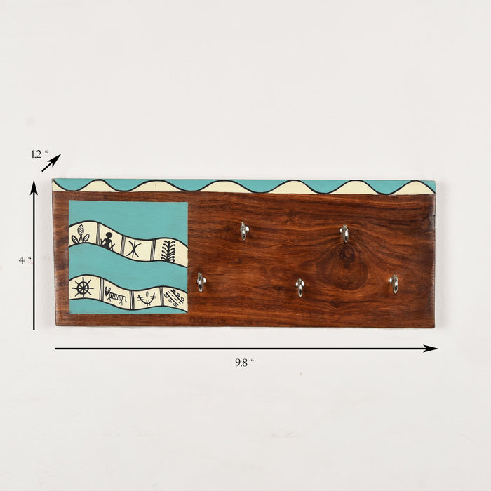 Handcrafted Wooden Decorative Key Holder | Sea Green Warli Key Chain Hanger for Décor