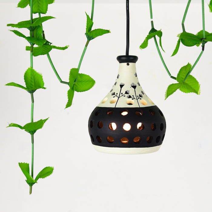 'Ethnic Lantern' Hand Crafted Terracotta Pendant Cum Hanging Lamp, Hand Painted Hanging Light For Home Décor