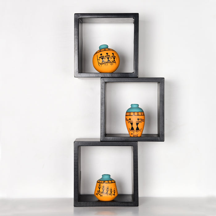 'Art of Life' Wall Mounted Wooden Shelves With Decorative Hand Painted Terracotta Pots In Mustard Color For Home Décor