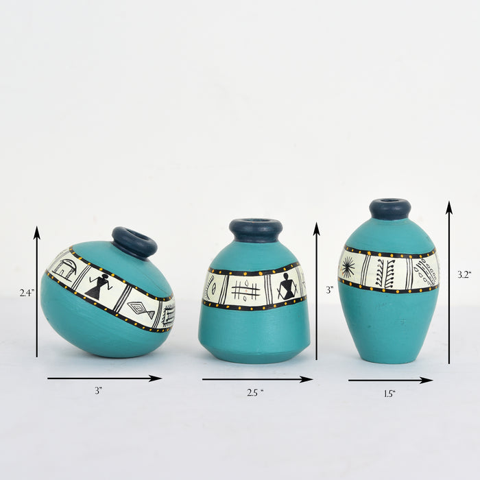 Handcrafted Terracotta Hand Painted Miniature Vases in Aqua Blue Color | Earthen Decorative Vases For Living Room