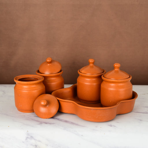 Ceramic Pickle Jar with Lids And Tray (Set of 4)
