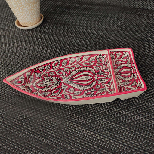 """KALAMKARI COLLECTION"" Mughal Art Ceramic Boat Shape Platter - artystagallery"