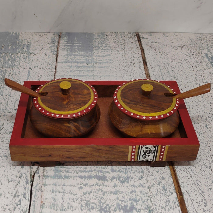 Wooden Tray With Handi And Spoon