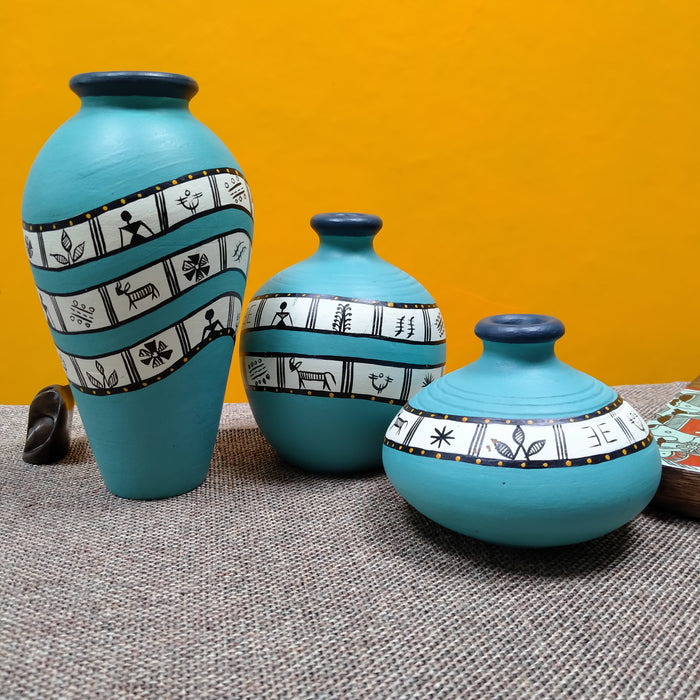 Set of 3 Turquoise Terracotta Pots for Home Decor - artystagallery