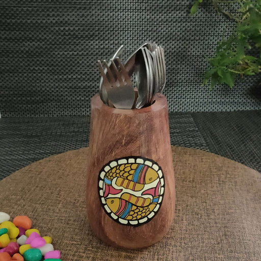 'Back To Woods' Multi Utility Wooden Cutlery Holder Cum Pen Holder - artystagallery