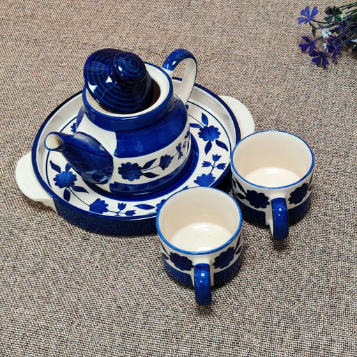 """Indigo Imprints"" Teapot Set With Two Cups And Tray - artystagallery"