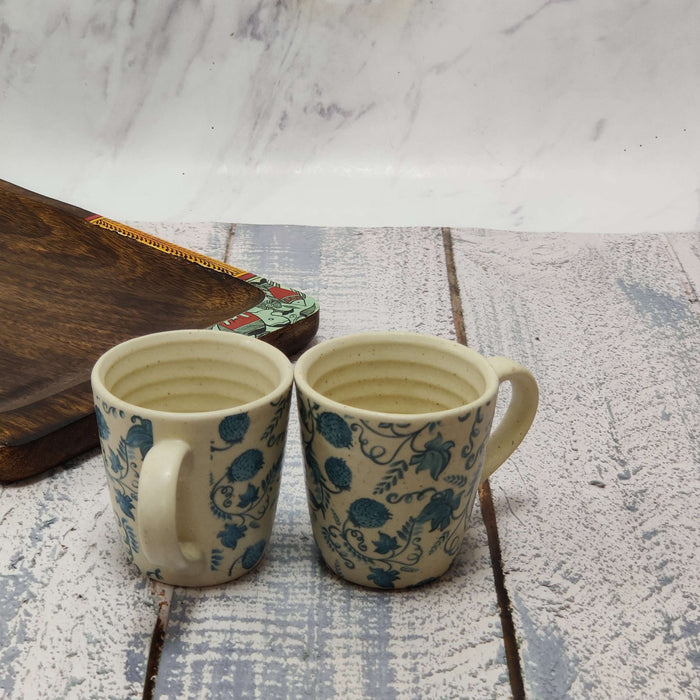 """Gzhel Blue Pottery"" Ceramic Cups Set Of 2 - artystagallery"