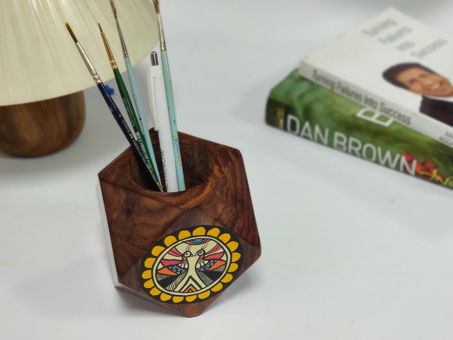 'Back To Woods' Sheesham Wood Pen Stand For Desk - artystagallery