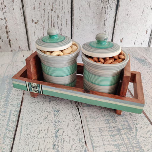 'Rings of Beauty' Ceramic Condiment Set With Wooden Tray - artystagallery