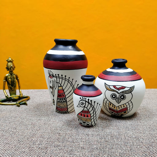 Set of 3 Hand Painted White Decorative Terracotta Pots - artystagallery