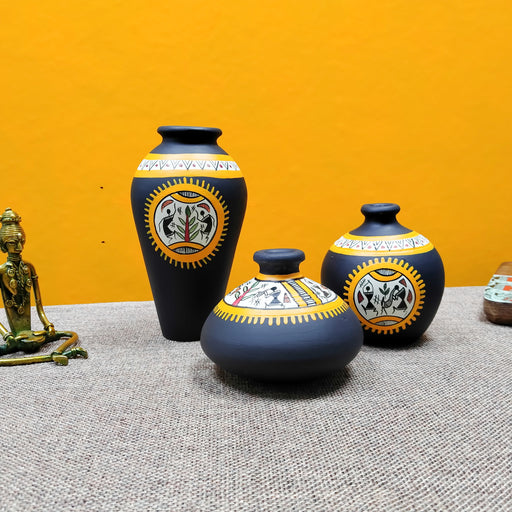 Set of 3 Black Warli Terracotta Decorative Vases - artystagallery