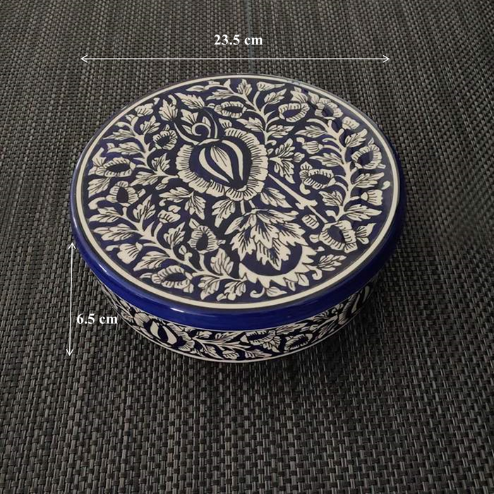 """KALAMKARI COLLECTION"" Ceramic Handmade Blue Mughal Dry Fruit Box - artystagallery"