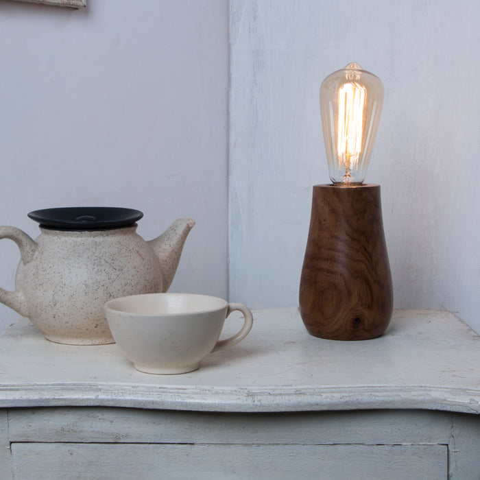 Handcrafted Solid Sheesham Wood Home Decorative Table Lamps with Antique Vintage Glass Bulb
