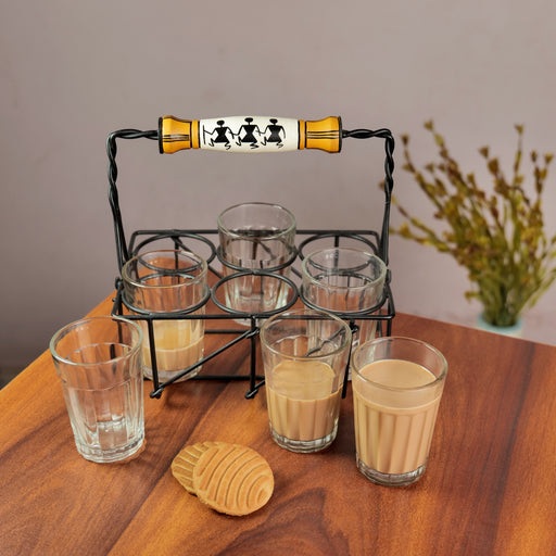 'Warli' Cutting Chai Glasses With Stand