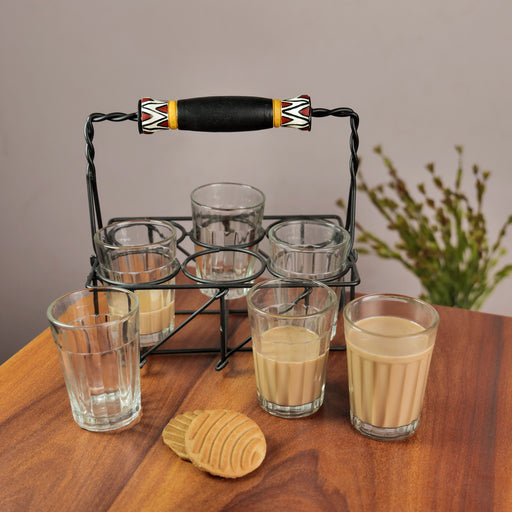 Tribal Design Cutting Chai Glasses With Stand
