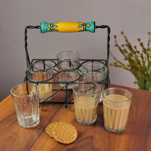 Cutting Chai Glasses With Stand With Leaf Painting