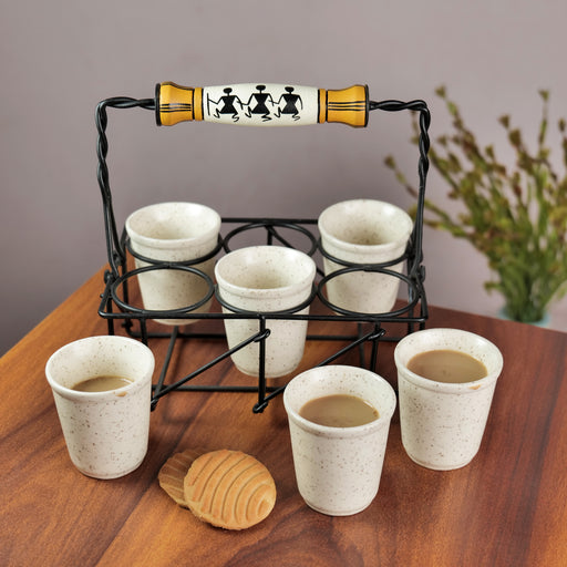 Cutting Chai Glasses With Stand White Color