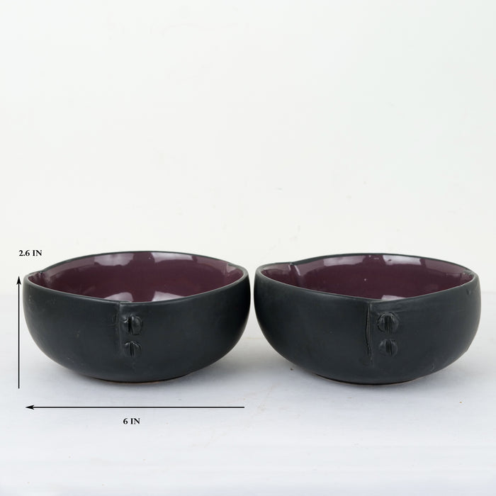 'Button on Top' Black and Purple Ceramic Serving Bowl (Set of 2)