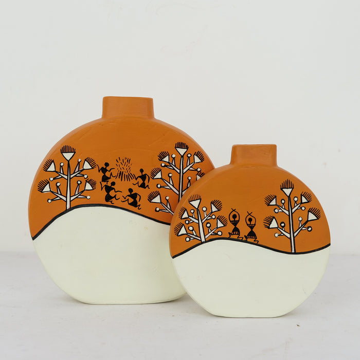 Handcrafted Terracota Hand Painted Vases | Decorative Earthen Vases for Home | Vases Set of 2