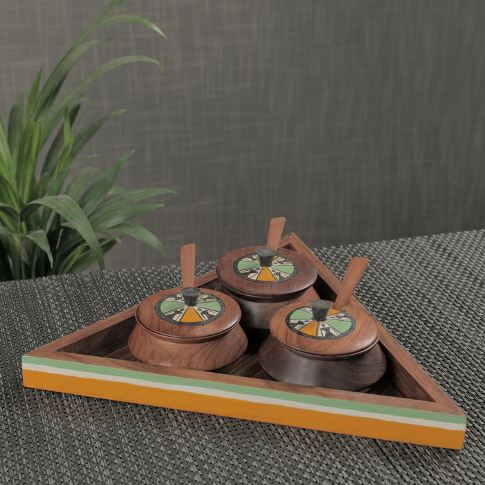 Hand-Painted Wooden Matki Refreshment Jars With Tray