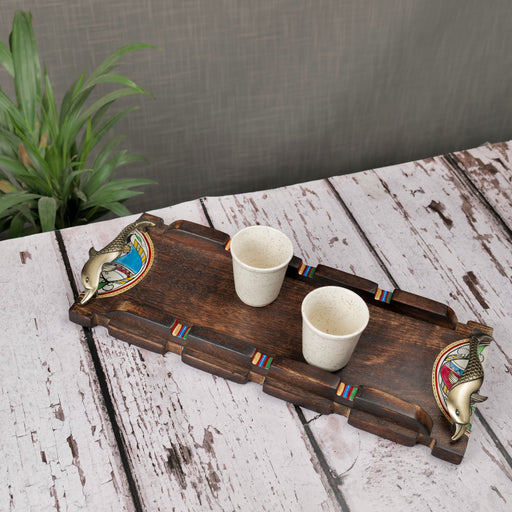 Hand Crafted Decorative Wooden Tray With Brass Handle| Trays| Serving Trays| Gift Items
