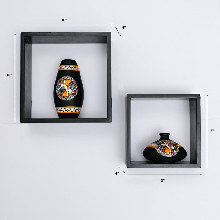 'Art of Life' Wall Mounted Wooden Shelves With Decorative Hand Painted Terracotta Pots In Black Color