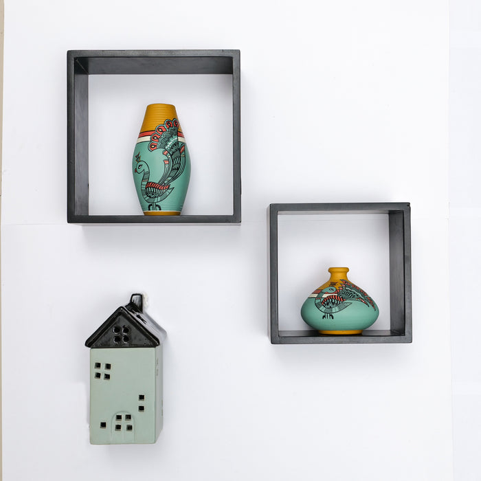 'Art of Life' Wall Mounted Wooden Shelves With Decorative Hand Painted Terracotta Pots In Green Color