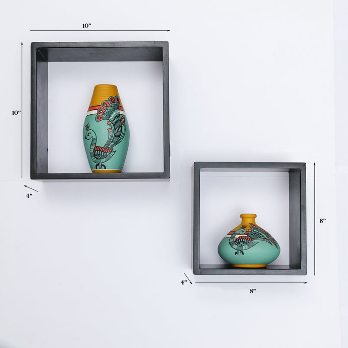 'Art of Life'  Wooden Wall Shelves With Terracotta Pots In Green Color