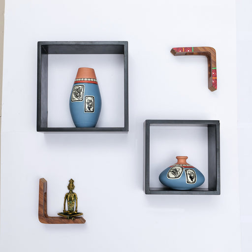 'Art of Life' Wall Mounted Wooden Shelves With Decorative Hand Painted Terracotta Pots In Grey Color