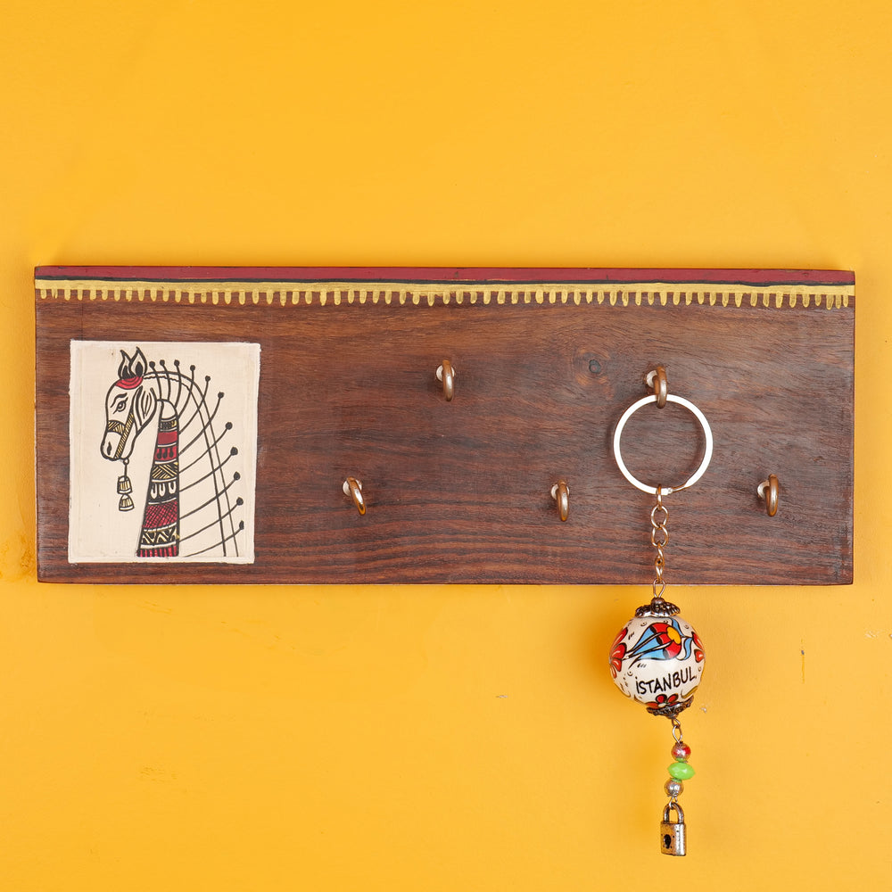 'Horse On Plank' Madhubani Handcrafted Wooden Key Holder