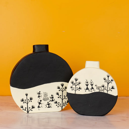 Handcrafted Earthen Terracota Vases |  Warli Hand Painted Vases for Home Decor (Set of 2)