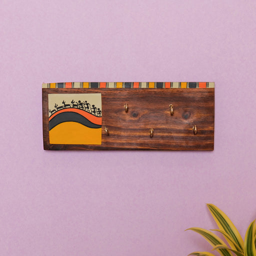 'Warli' Handcrafted Wooden Key Holder For Home Décor