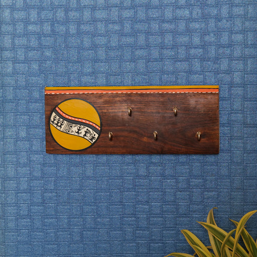 'Warli' Handcrafted Decorative Wooden Key Holder In Mustard Color