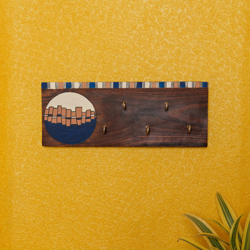 'Abstract Art' Handcrafted Wooden Decorative Key Holder