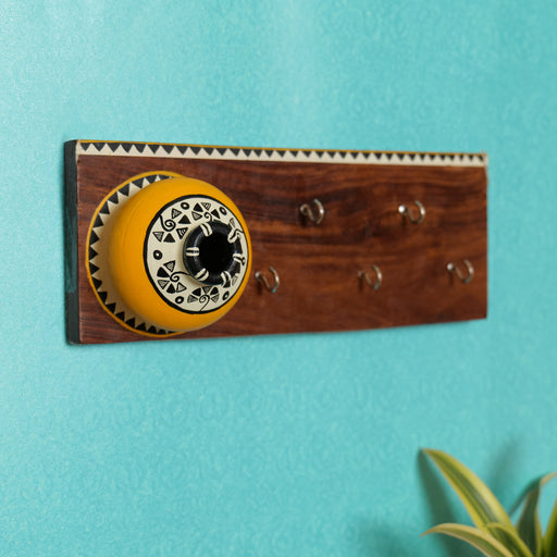 'Matki On Top' Handcrafted Wooden Decorative Key Holder In Yellow Color
