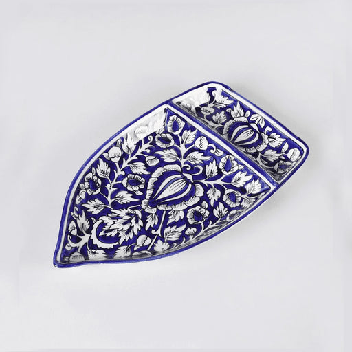 """KALAMKARI COLLECTION"" Stoneware Mughal Art Boat Shape Platter - artystagallery"