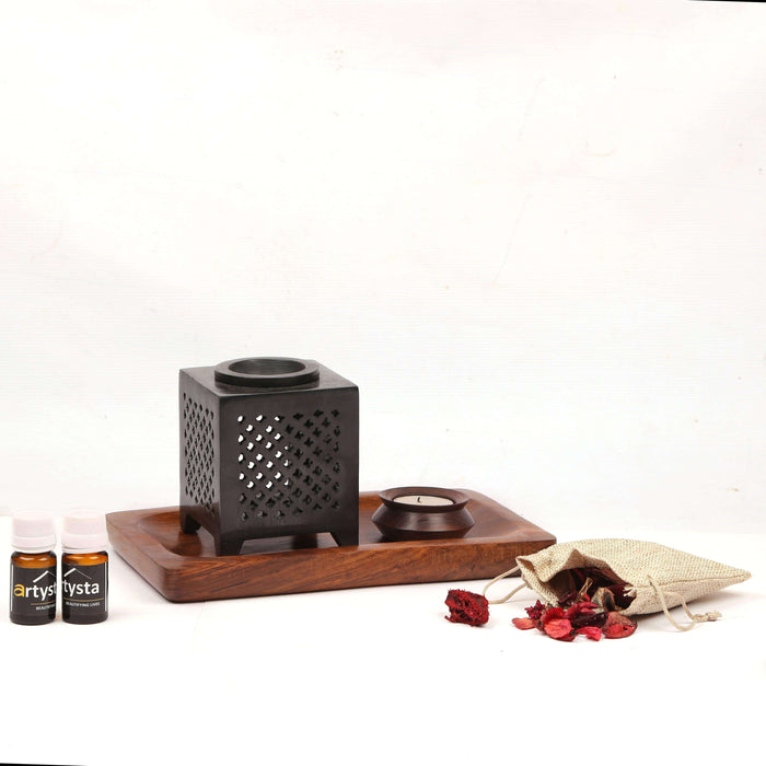 Aroma Burner Set With Wooden Tray / Gift Items - artystagallery