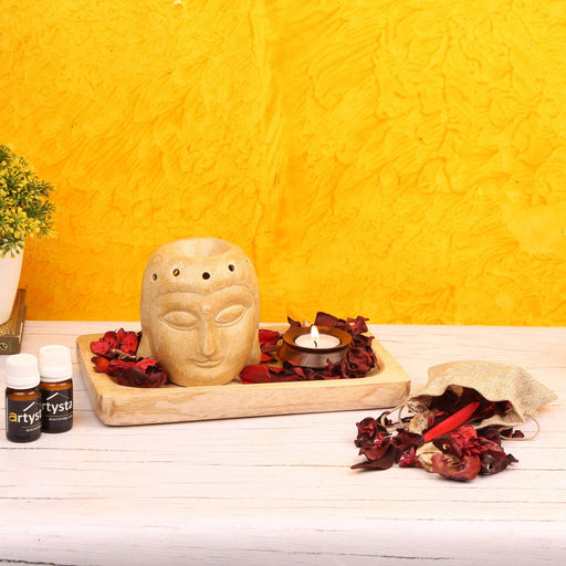 Aroma Essential Oil Burner Set With Wooden Platter / Gift Item - artystagallery