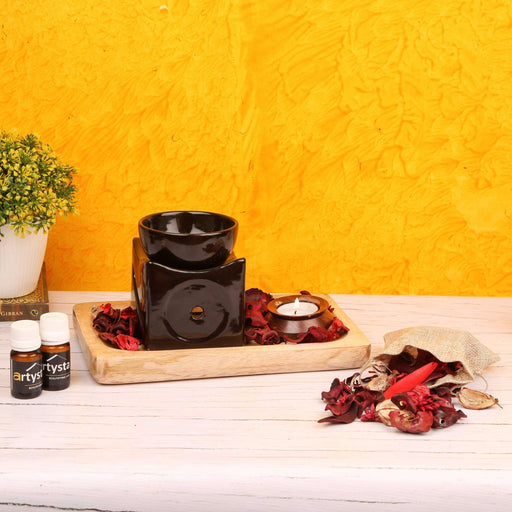 Aroma Oil Burner Set With Mango Platter / Gift Item - artystagallery