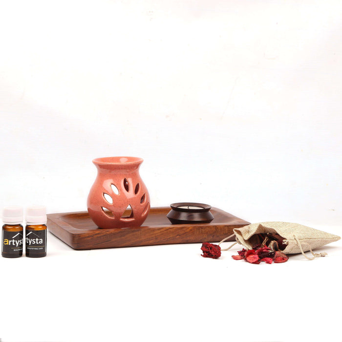 Aroma Oil Burner Set With Sheesham Wooden Platter / Gift Item - artystagallery