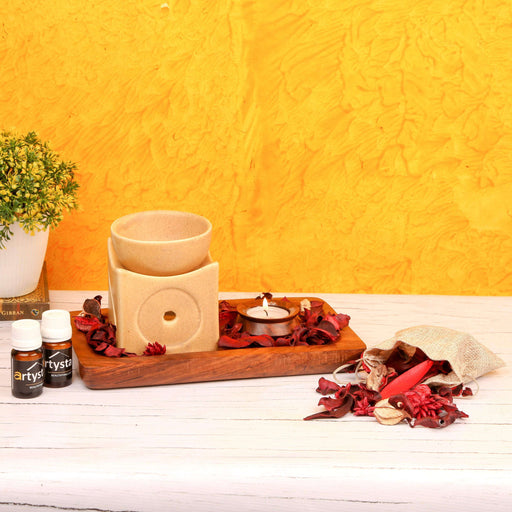 Aroma Oil Burner Set With Wooden Platter/ Gift Item - artystagallery