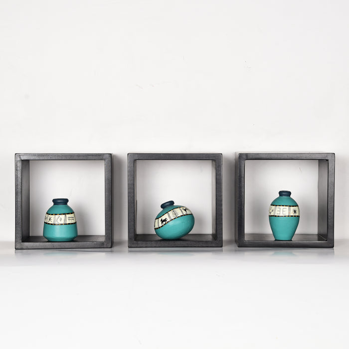 'Art of Life' Wall Mounted Wooden Shelves With Decorative Hand Painted Terracotta Pots In Aqua Color For Home Décor